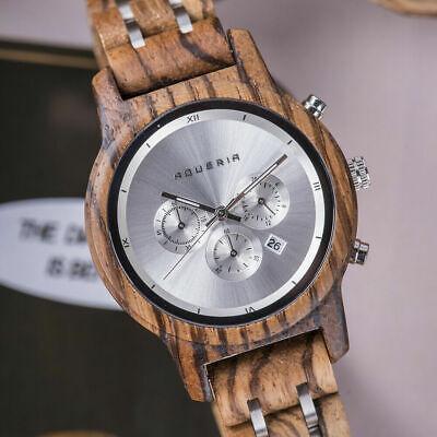 Damen-Armbanduhr, aus Holz, Chronograph , aus Zebrano und Edelstahl, Holzuhr