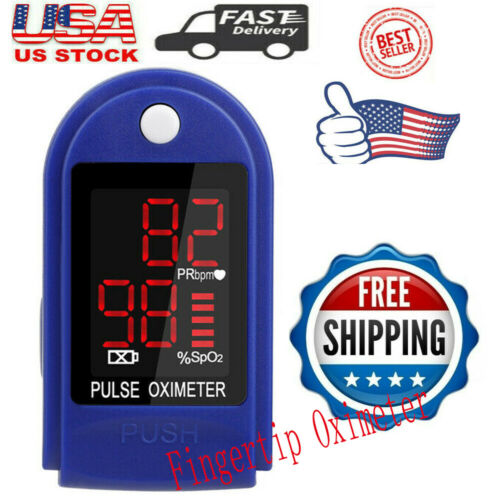 SpO2 Pulse Fingertip Oximeter Blood Oxygen Monitor PR PI Heart Rate FDA Approved