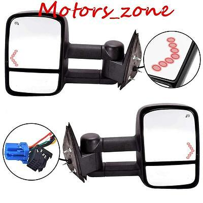 Power Heated LED Arrow Tow Mirrors For 03 - 06 Chevrolet Silverado GMC Sierra
