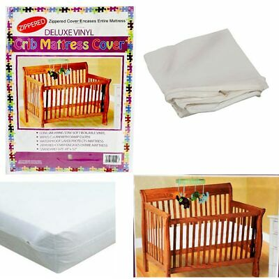 Crib Size Zippered Mattress Cover Vinyl Toddler Bed Allergy Dust Bug Protector -