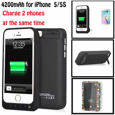 4200mah Outside Power Bank Battery Backup Charger Case Cover For iPhone 5 5S US