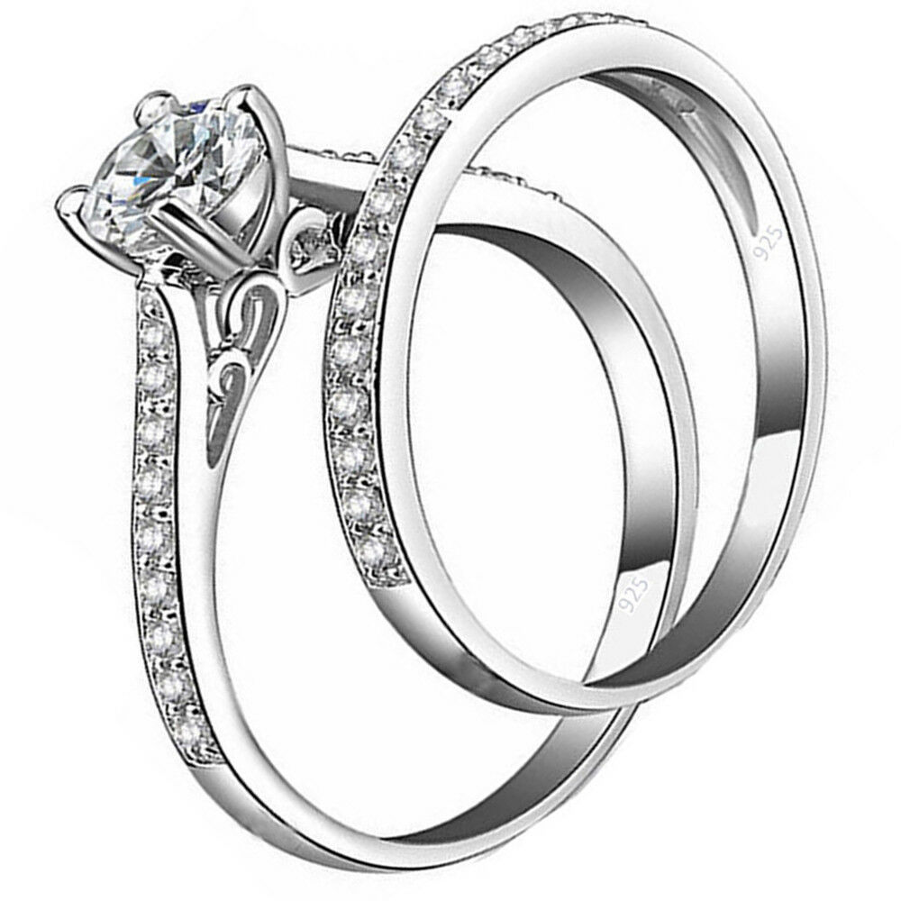 2ct  Real 925 Sterling Silver Wedding AAA CZ Ring Women's Band sz 4-11.5     1