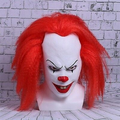 Mens Adult Halloween Horrible Cosplay Mask Red Stephen King's Clown Pennywise