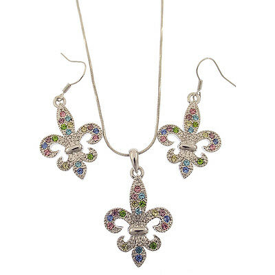 Fleur De Lis Lily Two Pieces Jewelry Sets Pendant Earrings Multicolor Rhinestone