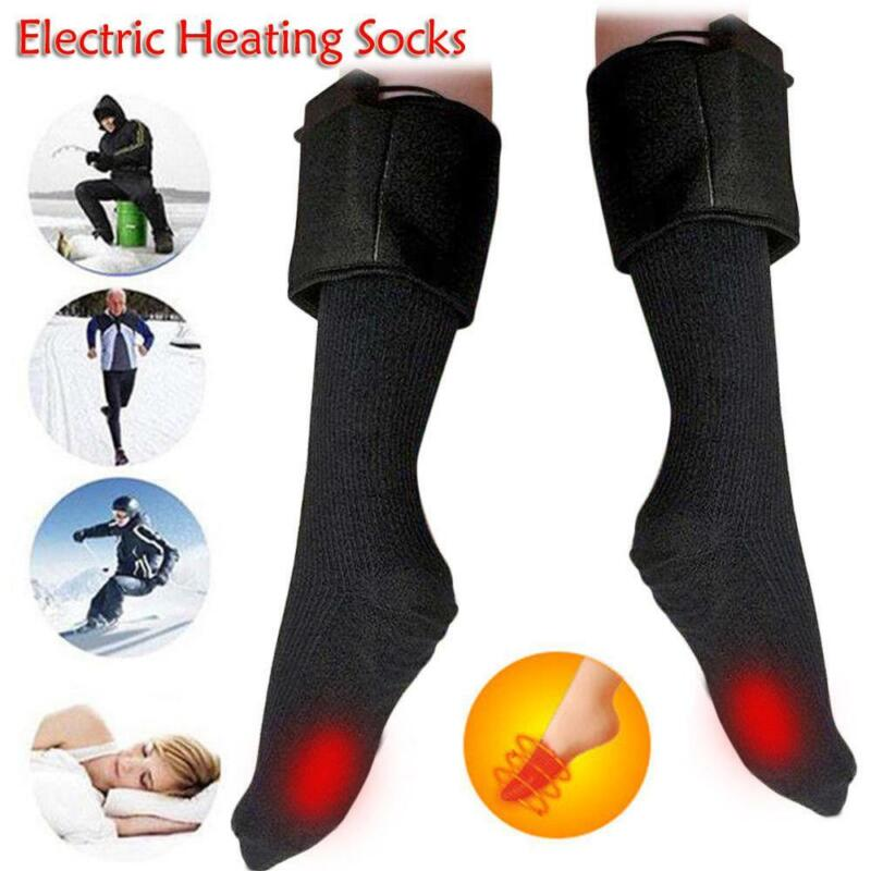 Rechargable Battery Electric Heated Socks Boot Feet Warmer Winter Outdoor w/ Box