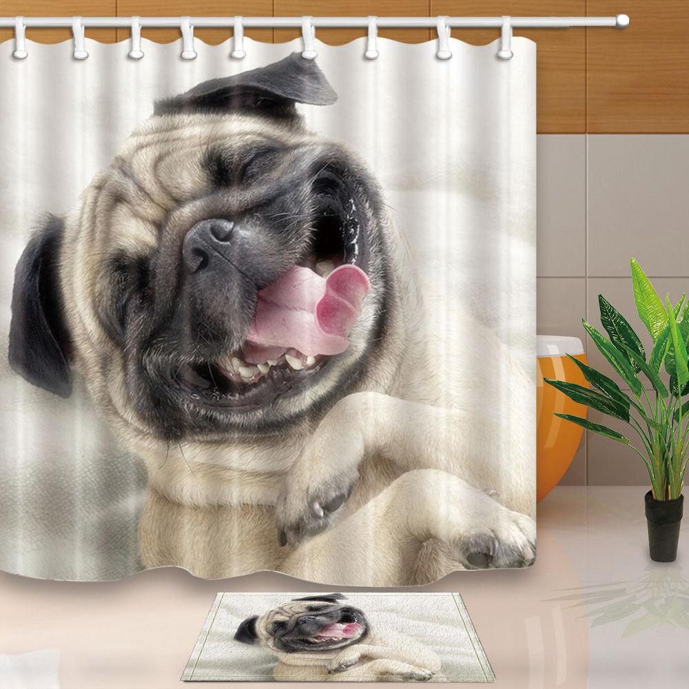 Details About Happy Smiley Pug Dog Shower Curtain Bathroom Decor Fabric 12hooks 7171inches