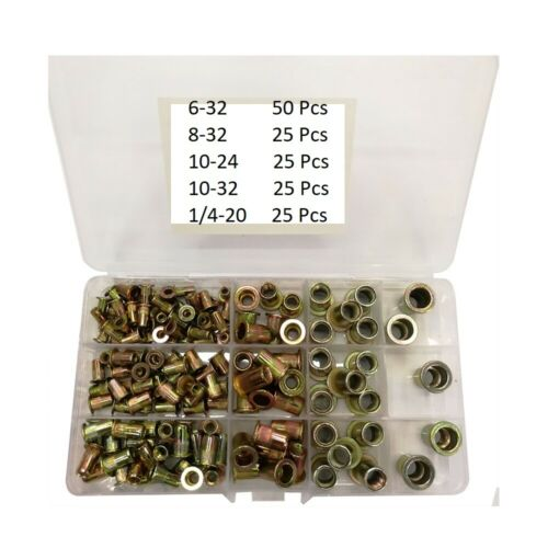 150 PCs SAE Rivet Nut Kit Rivnut Nutsert Assort Set 1/4-20 10-32 10-24 8-32 6-32