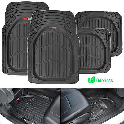 Motor Trend FlexTough 4pc Car Rubber Floor Mats   Heavy Duty All Weather Black