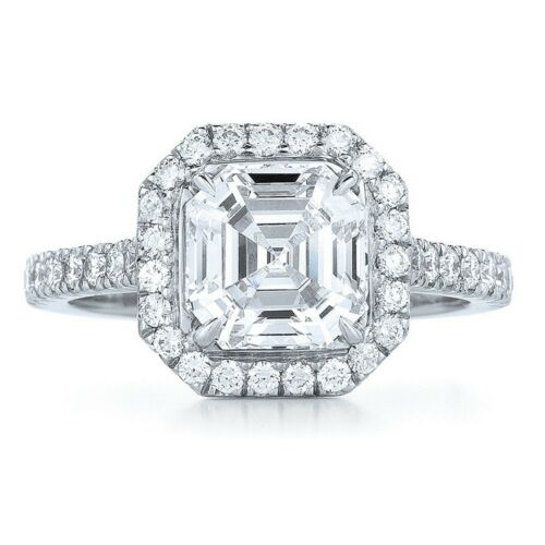Platinum Diamond Engagement Halo Ring 2.00 CT GIA Asscher and Round Cut