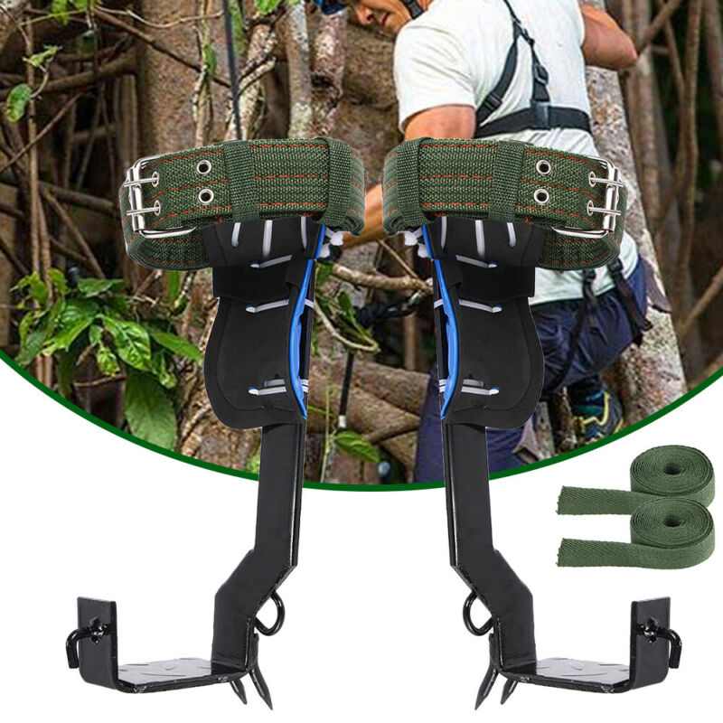 A Pair 2 Gears Tree Climbing Spike Set Adjustable Lanyard Rope Rescue Belt Newly