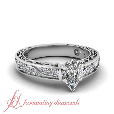 1 Carat Pear Shaped SI2 F-Color Diamond Engagement Pave Ring Cut:Very Good GIA