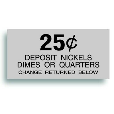 Vending Machine 25 Cent Decal Soda Pop Soft Drink Coin Slot Fits Dixie Narco