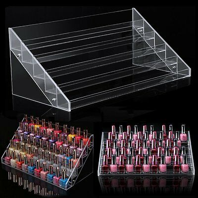 Used, 5Display Nail Polish Clear Rack Acrylic Make Up Case Storage Stand Organizers for sale  USA
