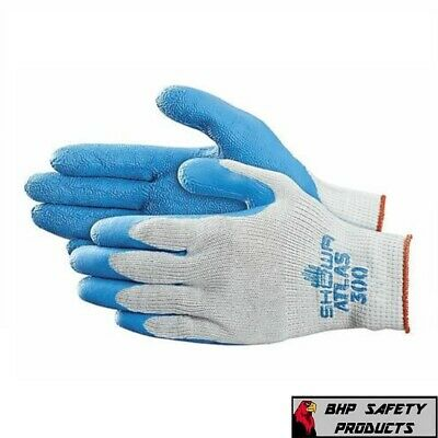 Showa Atlas Fit 300 Natural Rubber Palm Coated Work Gloves Blue General Purpose
