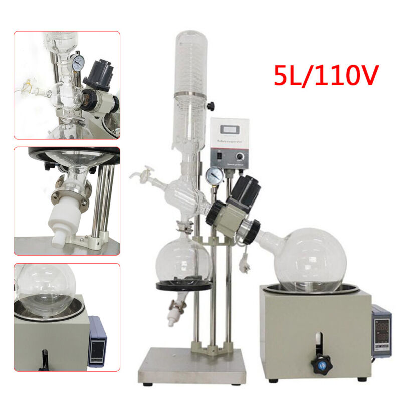 New! 110V 5L Rotary Evaporator RotoVap RE-501D 0-99°C Accurate Lab Equipment USA