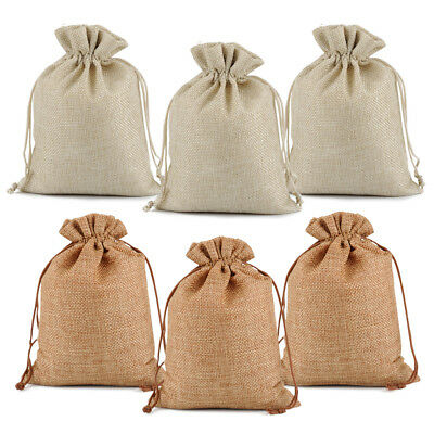 25 50 100 Wedding Hessian Burlap Jute Favour Gift Bags Jewelry Drawstring Pouch - Gift Wrapping Supplies