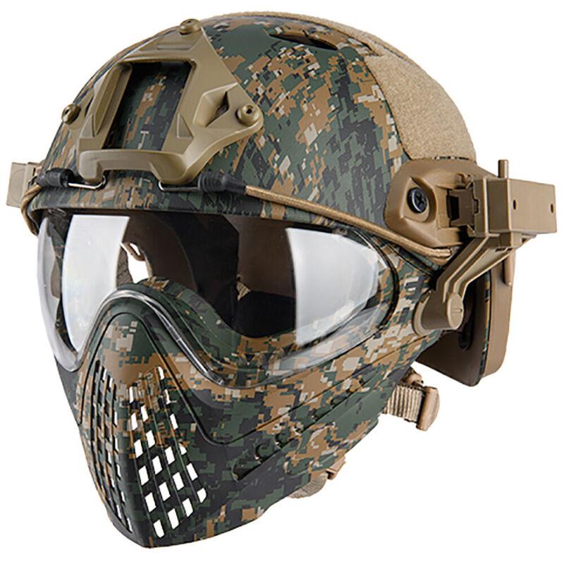 WST WOSPORT Piloteer Fast Helmet Adapter Face Mask Woodland Digital Airsoft