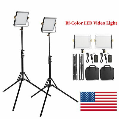 VBESTLIFE 2pcs/Kit Bi-color LED Video Light Camera Studio Lighting Stand Set