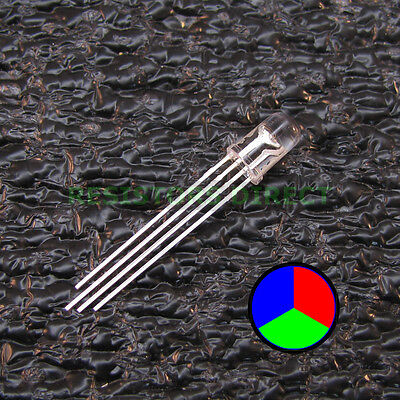 10pcs Rgb Led Water Clear Lens 5mm Common Cathode 4-pin Red Green Blue 10x V34