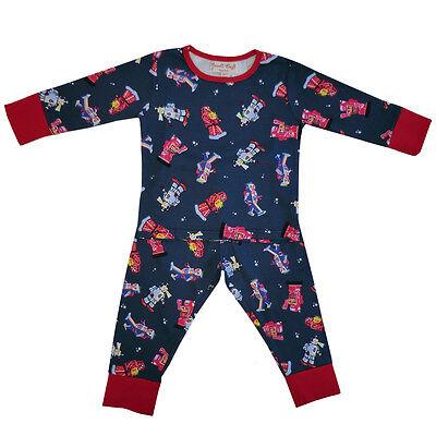 Cotton Knit Pyjama (100% Cotton Knit Pyjamas - Beautifully Soft - Robots - Powell Craft - Ages 1-9)