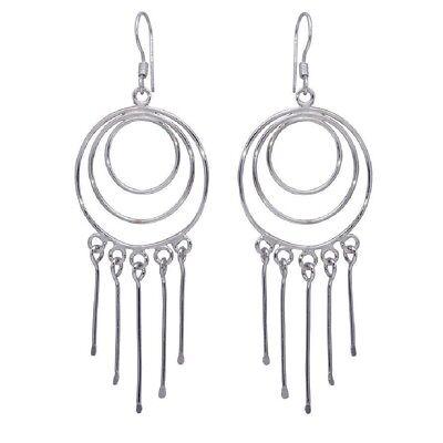 Sterling Silver Multiple Graduated Open Circle Wire Dangling Hook Earrings
