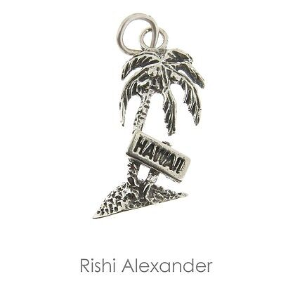 925 Sterling Silver Hawaii Palm Tree Charm Made in USA