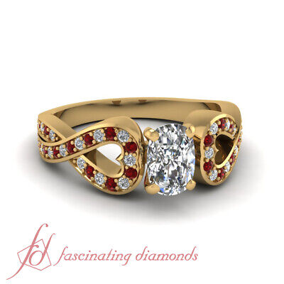 1 Ct Yellow Gold Cushion Cut Diamond And Round Ruby Engagement Ring 18K Gold GIA