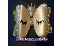 Extra large Crown Glitter & Leatherette Hair Bow Clip