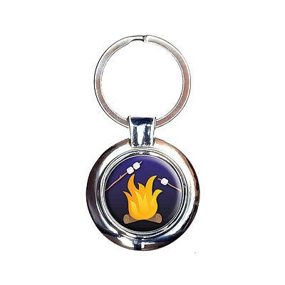 Campfire Camping Smores Roast Marshmallow Keychain Key Ring