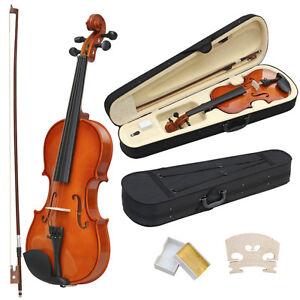 UK New 4/4 Full Size Acoustic Violin Set With Case&Bow&Rosin Cake&Bridge&Strings