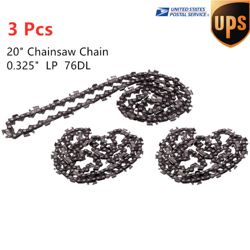 """3X 20"""" Chainsaw Semi Chisel 76DL Chain 325 Pitch 0.58"""" 1.5mm Gauge Drive Links"""