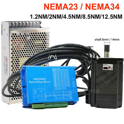 Nema23 Nema34 Closed-loop Stepper Motor 1.2nm12.5nm Hybrid Servo Driver Cnc Kit