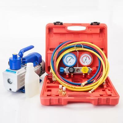 R404A AC Manifold Gauge Set Refrigerant HVAC w/ Case + 3CFM 1/4HP Vacuum Pump