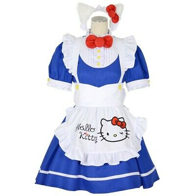 Hello Kitty  HALLOWEEN Cosplay Maid Dress Costume  3L 5L Blue SANRIO 8mm  - Hello Kitty Cosplay Kostüm