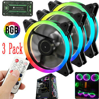 3 Pack RGB LED Quiet Computer Case PC Cooling Fan 120mm with 1 Remote Control US (Led Fans)