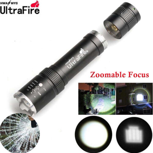 Tactical 20000LM Zoom T6 LED 18650 Flashlight Focus Lamp Light Torch+Mount clip