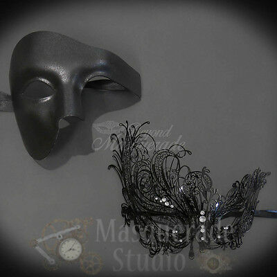 Couples Black Phantom and Black Swan Costume Party Masquerade Masks - Black Phantom Mask