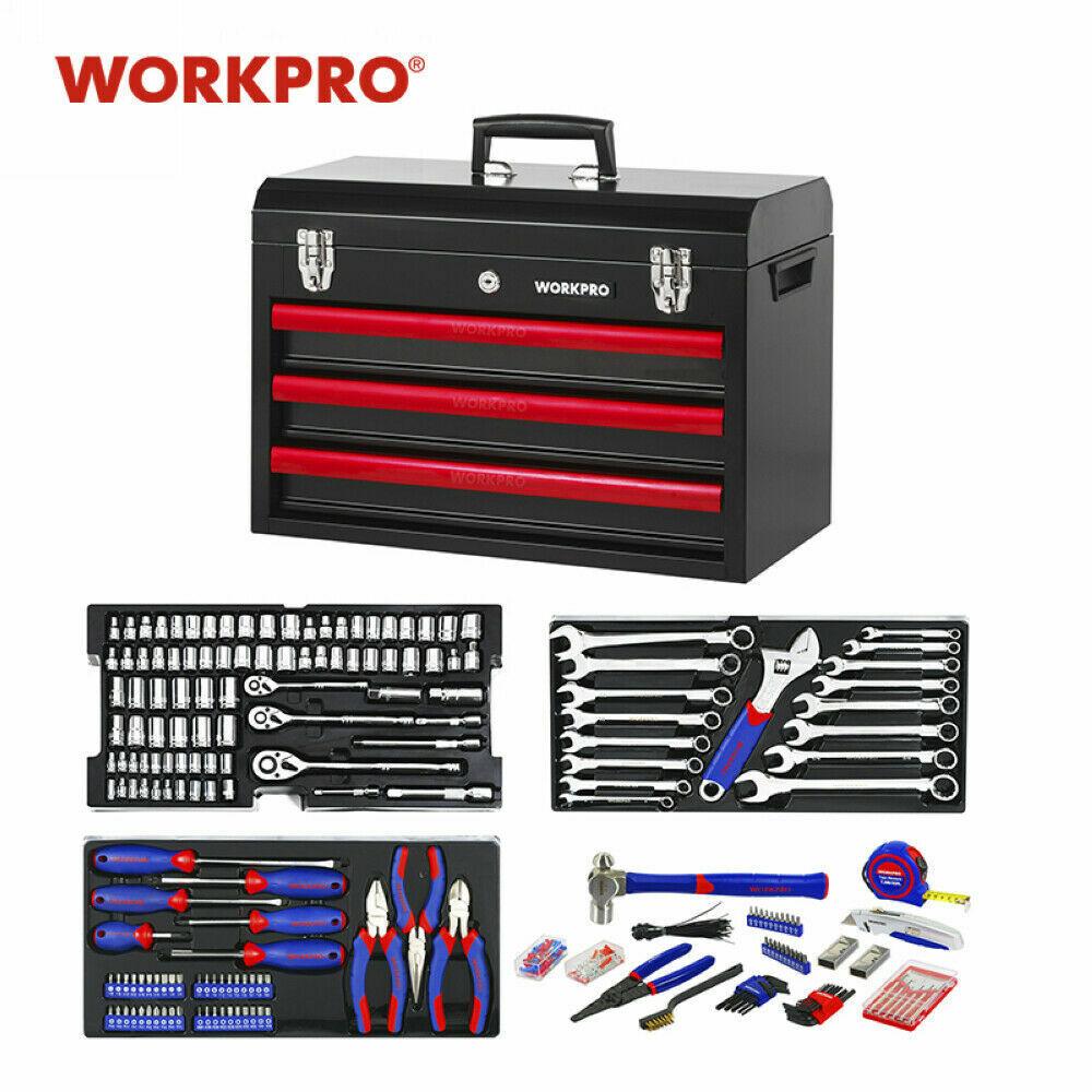WORKPRO 408 Piece Mechanics Tool Set w/3-Drawer Metal Case Socket Wrench Set USA