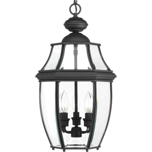 Progress Lighting New Haven Collection 3-Light Outdoor Black Hanging Lantern