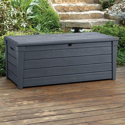 Storage Deck Box Outdoor Container Bin Chest Patio Keter 120 Gallon Bench Gray