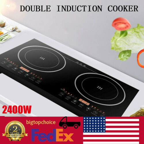 2.4KW Electric Dual Induction Cooker Cooktop 2400W Counterto