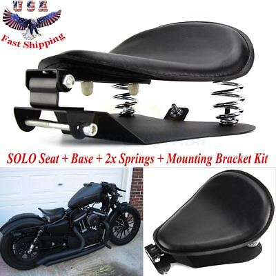 "Black SOLO Seat 3"" Spring Bracket Base Kit For Harley 48 Sportster XL883 1200 US"