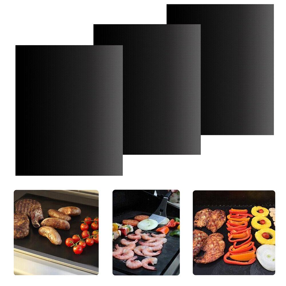 3er Set PREMIUM Dauer BBQ Grillmatte Grillunterlage Teflon Backmatte Bratfolie