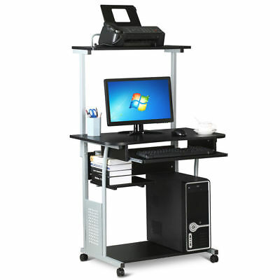 Computer Corner Desk Rolling Laptop Home Backup Study Table Printer Shelf Stand