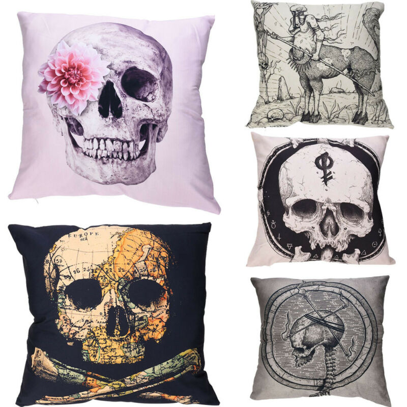 Skeleton Print Pillow Cases Polyester Sofa Car Cushion Cover