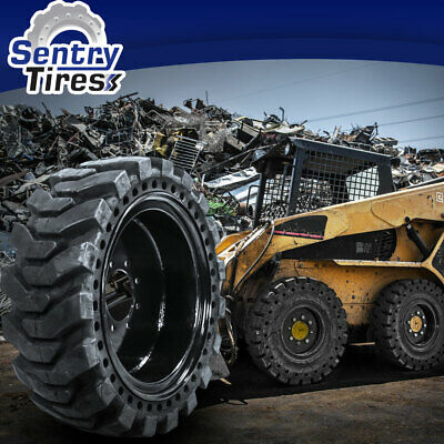 10x16.5 Sentry Tire Skid Steer Solid Tires 4 W Wheels For Case 10-16.5