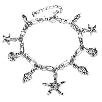 (Women's Silver Ocean Multi Starfish Sea Star Conch Shell Pearl Chain Bracelet)