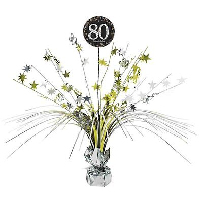 80th Birthday Spray Centrepiece Table Decoration Black Silver Gold Age 80 Party](80th Birthday Centerpieces Decorations)