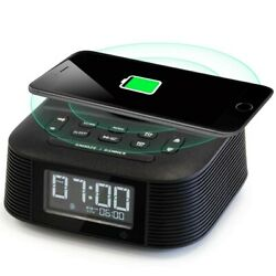 Homtime Wireless Charging Alarm Clock Radio with Dual Alarm, Bluetooth Speaker