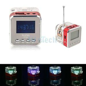 nizhi tt 029 digital fm radio clock alarm usb tf music mp3 player mini speak red ebay. Black Bedroom Furniture Sets. Home Design Ideas